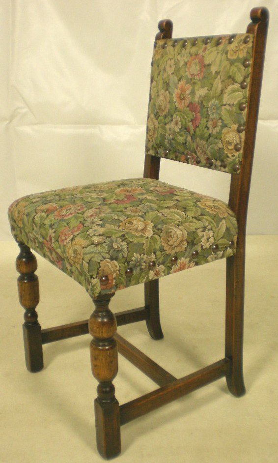 Set Of Four Jacobean Style Upholstered Dining Chairs Sold